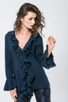 Navy blue blouse with ruffles