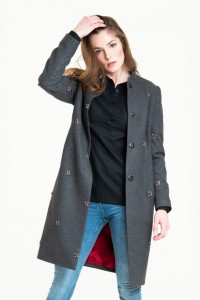 Short wool coat with crystal beads