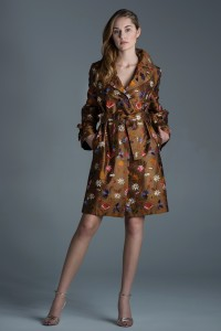 Women's single-breasted trench coat with embroidered flowers