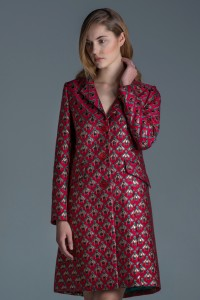 Jacquard coat with bees