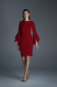 Red cuff sleeve dress