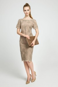 Elegant beige dress with embroidery
